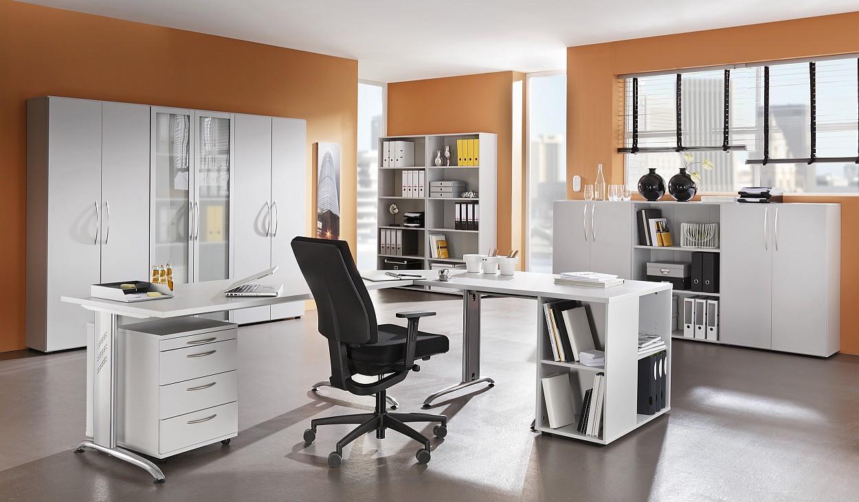 Büromöbel preiswert und schnell   elegant lichtgrau