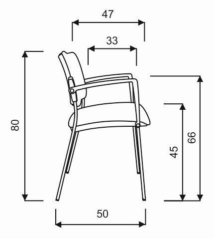 Stuhl technische zeichnung  Büromöbel preiswert und schnell - Hammerbacher ERGO Besucherstuhl ...