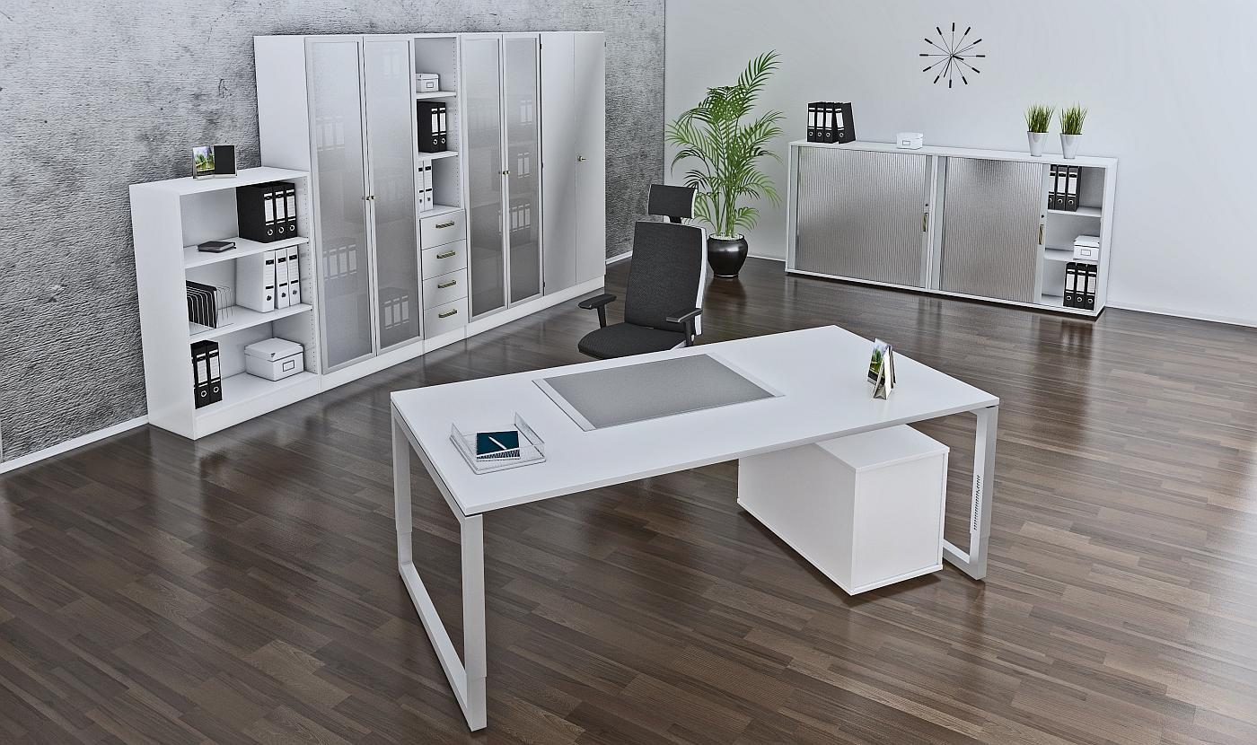 Büromöbel preiswert und schnell - Chefzimmer in Weiss