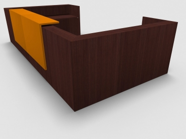 Quadrifoglio Z2 Empfangstheke C30 Wenge 445x231cm Form:U Blende:Lack/orange Gestell:weiss