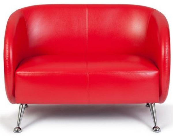 Loungesofa / Clubsofa LEVIER Kunstleder 2-Sitzer rot
